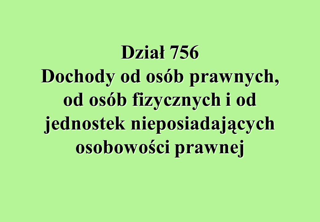 Dział 756 Dochody od osób prawnych, od osób fizycznych i od jednostek nieposiadających osobowości prawnej