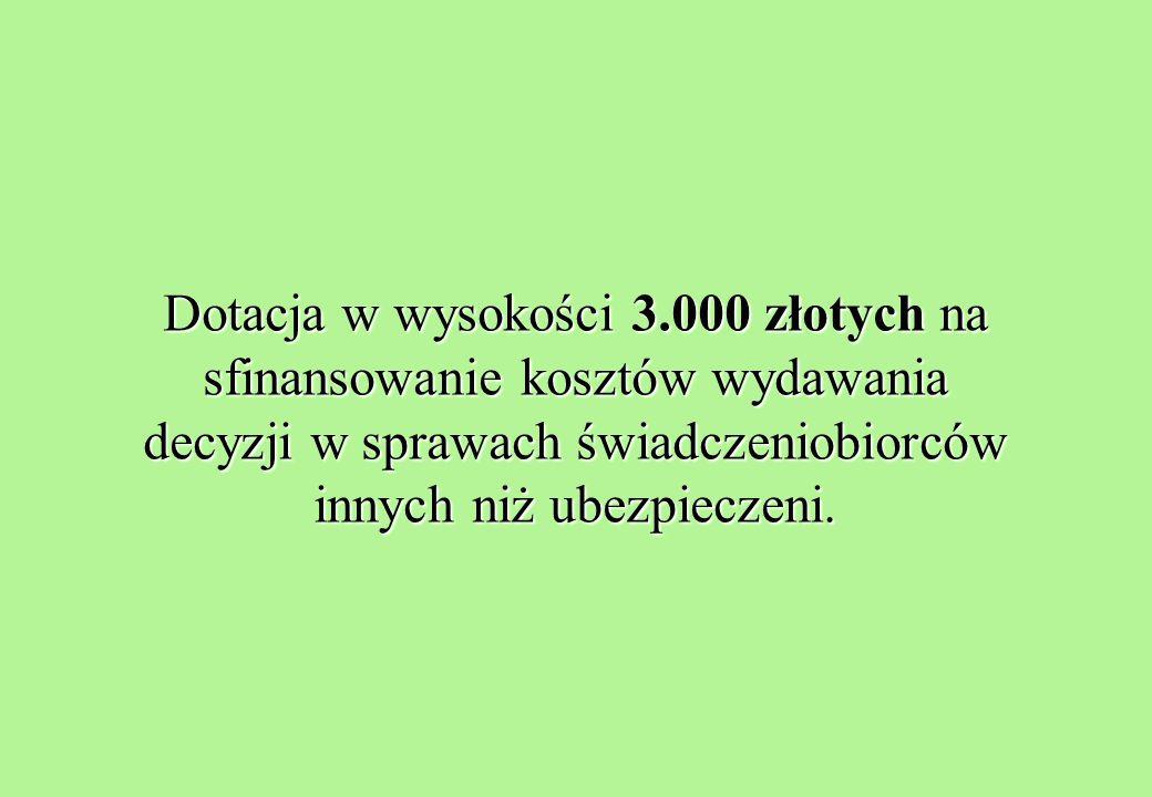 Dotacja w wysokości 3.000 złotych na sfinansowanie kosztów wydawania decyzji w sprawach świadczeniobiorców innych niż ubezpieczeni.
