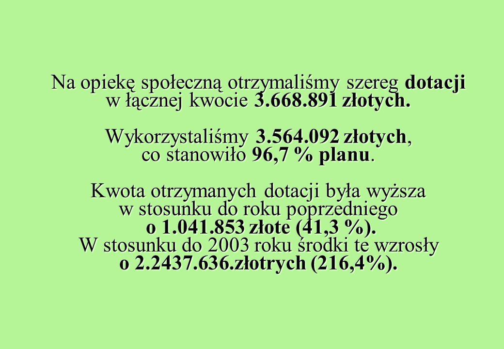 Na opiekę społeczną otrzymaliśmy szereg dotacji w łącznej kwocie 3.668.891 złotych.