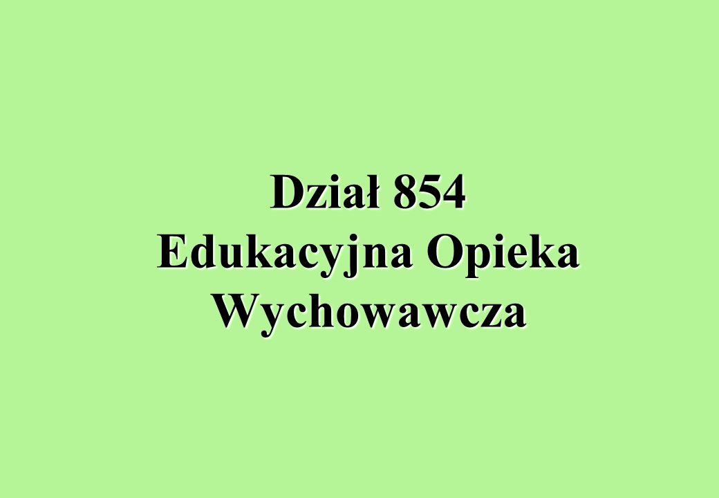 Dział 854 Edukacyjna Opieka Wychowawcza
