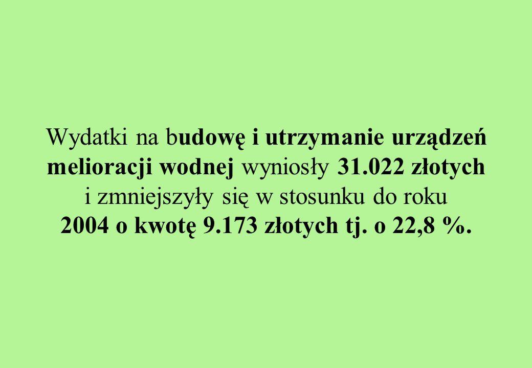 Wydatki na budowę i utrzymanie urządzeń melioracji wodnej wyniosły 31.022 złotych i zmniejszyły się w stosunku do roku 2004 o kwotę 9.173 złotych tj.
