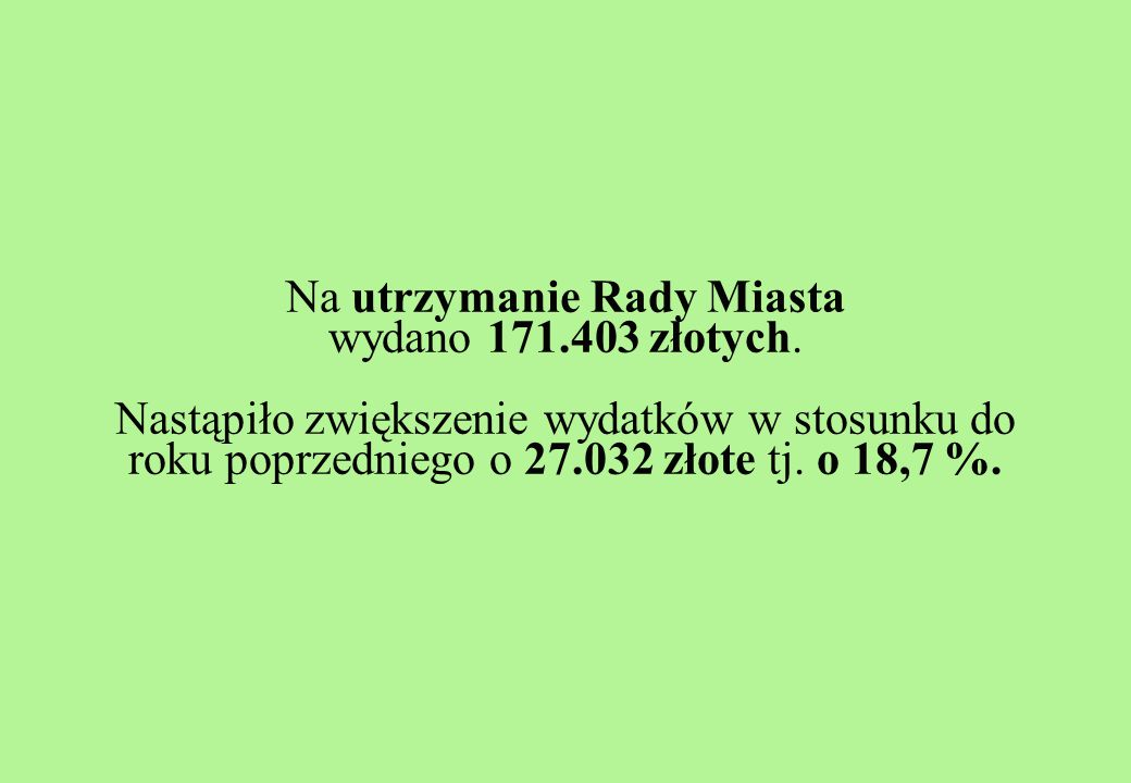 Na utrzymanie Rady Miasta wydano 171.403 złotych.