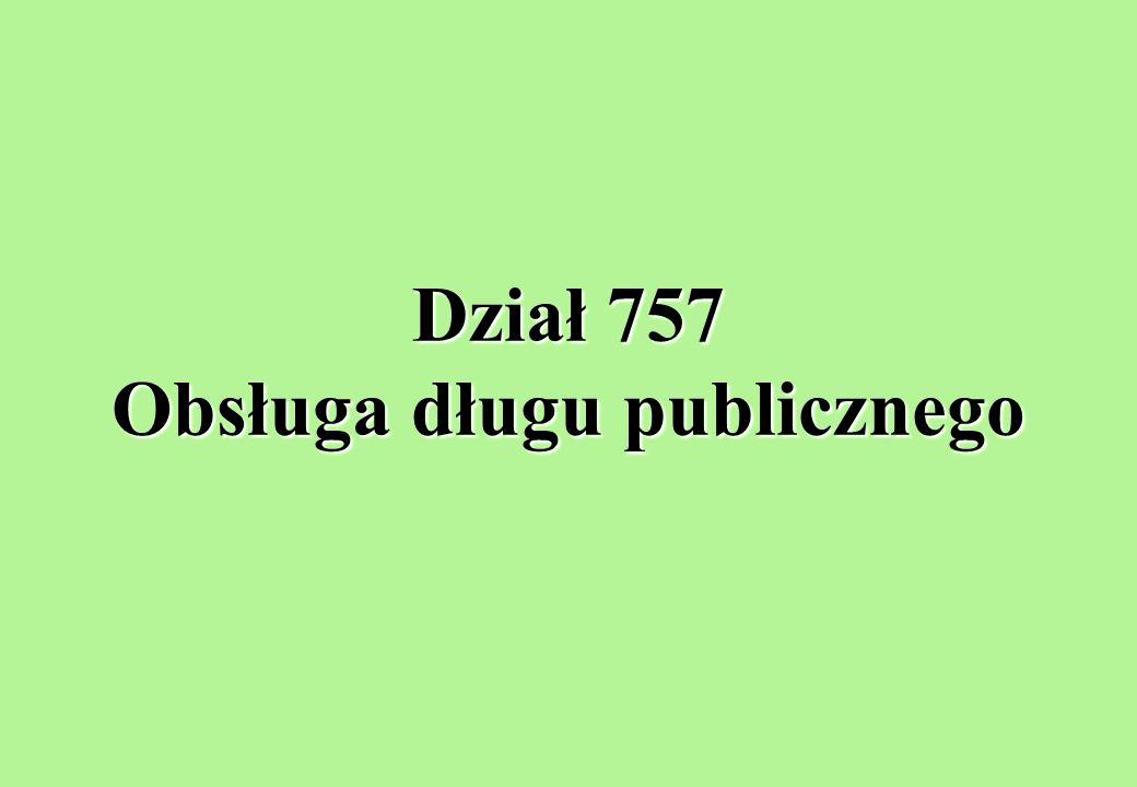 Dział 757 Obsługa długu publicznego