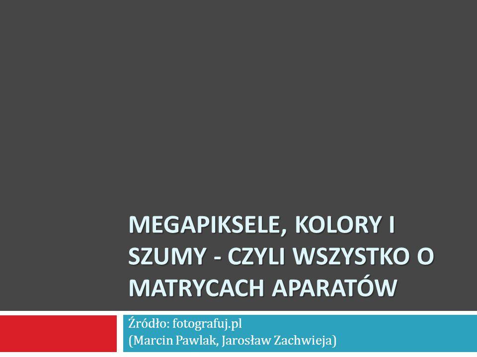 MEGAPIKSELE, KOLORY I SZUMY - CZYLI WSZYSTKO O MATRYCACH APARATÓW Źródło: fotografuj.pl (Marcin Pawlak, Jarosław Zachwieja)