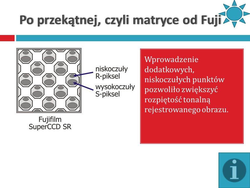Po przekątnej, czyli matryce od FujiPo przekątnej, czyli matryce od Fuji Wprowadzenie dodatkowych, niskoczułych punktów pozwoliło zwiększyć rozpiętość