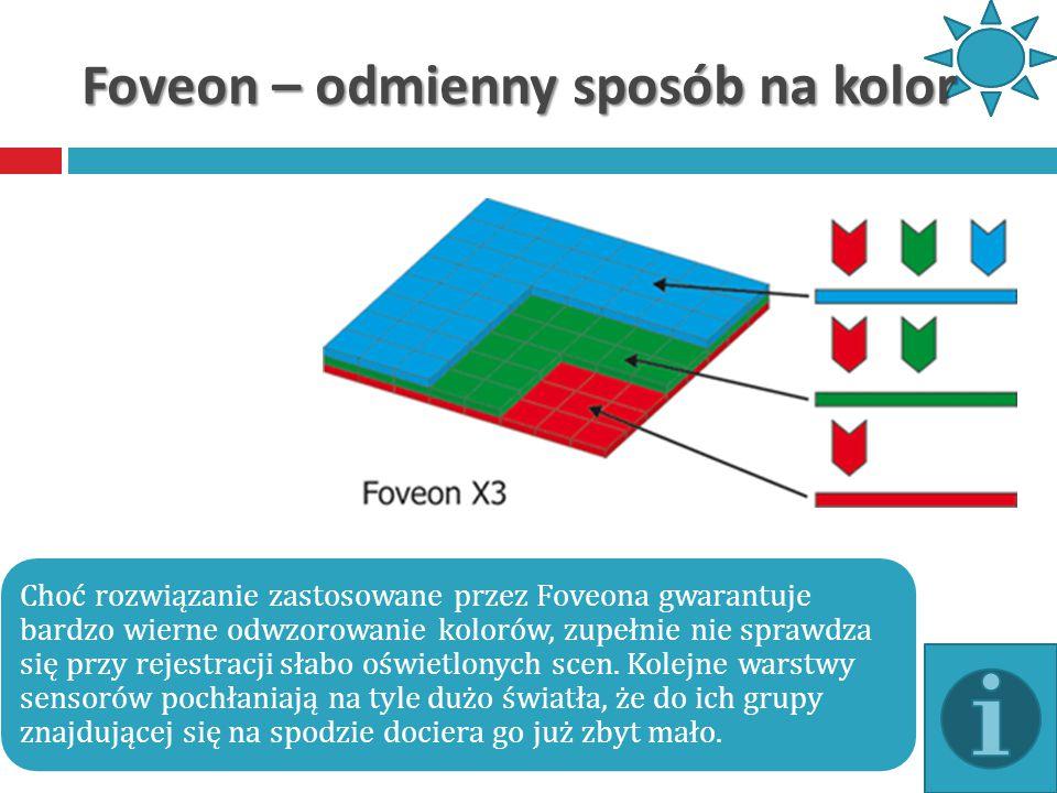 Foveon – odmienny sposób na kolor Choć rozwiązanie zastosowane przez Foveona gwarantuje bardzo wierne odwzorowanie kolorów, zupełnie nie sprawdza się