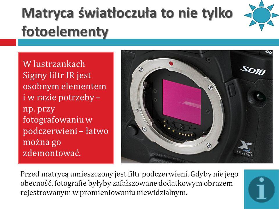 Matryca światłoczuła to nie tylko fotoelementy W lustrzankach Sigmy filtr IR jest osobnym elementem i w razie potrzeby – np. przy fotografowaniu w pod