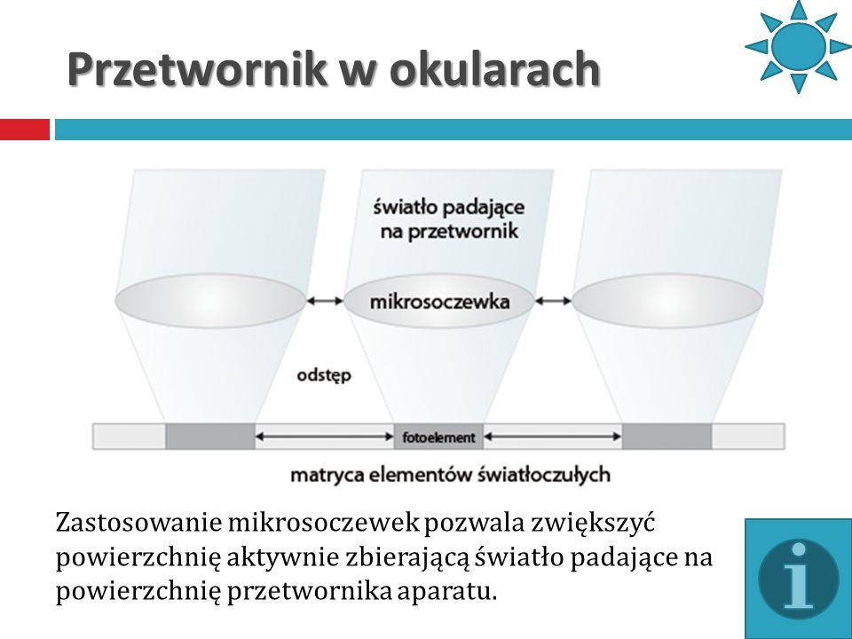 Przetwornik w okularach Zastosowanie mikrosoczewek pozwala zwiększyć powierzchnię aktywnie zbierającą światło padające na powierzchnię przetwornika ap