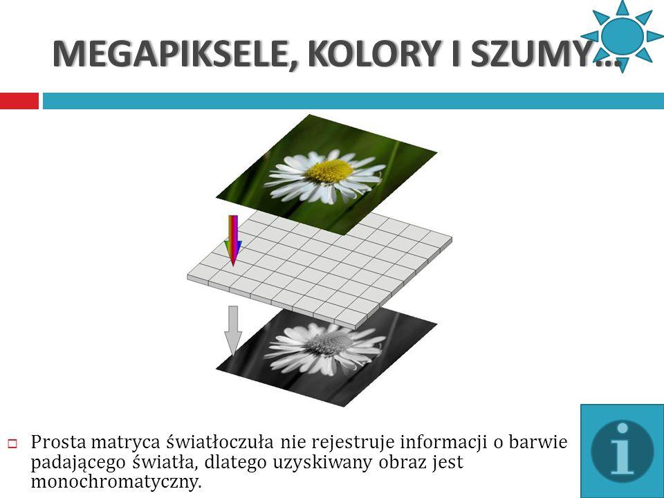 MEGAPIKSELE, KOLORY I SZUMY…MEGAPIKSELE, KOLORY I SZUMY… Sposób pracy matrycy powoduje, że zapisany obraz ma nieciągłą strukturę – składa się z szachownicy punktów o zmiennej jasności.