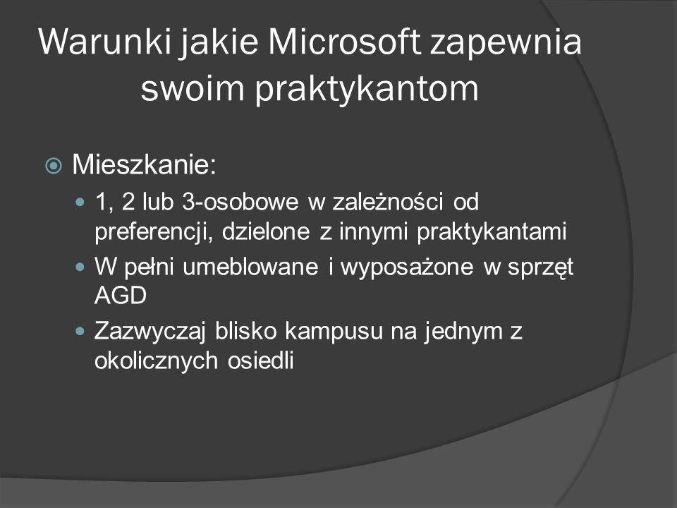 Warunki jakie Microsoft zapewnia swoim praktykantom  Mieszkanie: 1, 2 lub 3-osobowe w zależności od preferencji, dzielone z innymi praktykantami W pełni umeblowane i wyposażone w sprzęt AGD Zazwyczaj blisko kampusu na jednym z okolicznych osiedli