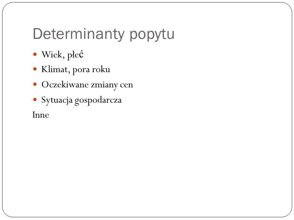 Determinanty popytu  Moda  Dochód (d): - Dobra normalne  d  D - Dobra ni ż szego rz ę du  d   D  Ceny innych dóbr: - Dobra substytucyjne  Px