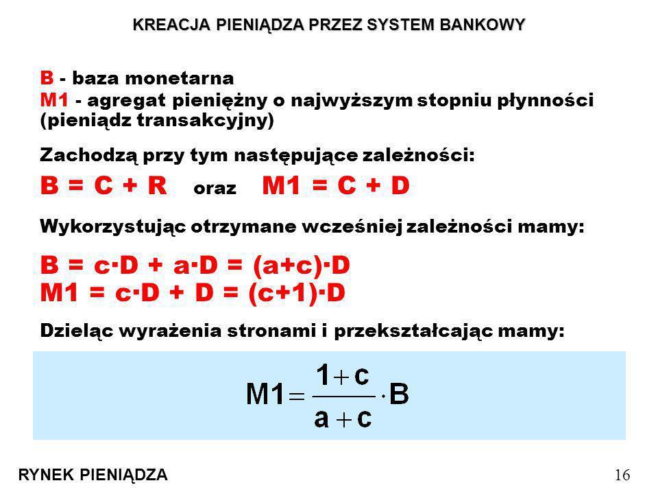 KREACJA PIENIĄDZA PRZEZ SYSTEM BANKOWY RYNEK PIENIĄDZA 16 B - baza monetarna Zachodzą przy tym następujące zależności: B = C + R oraz M1 = C + D M1 -