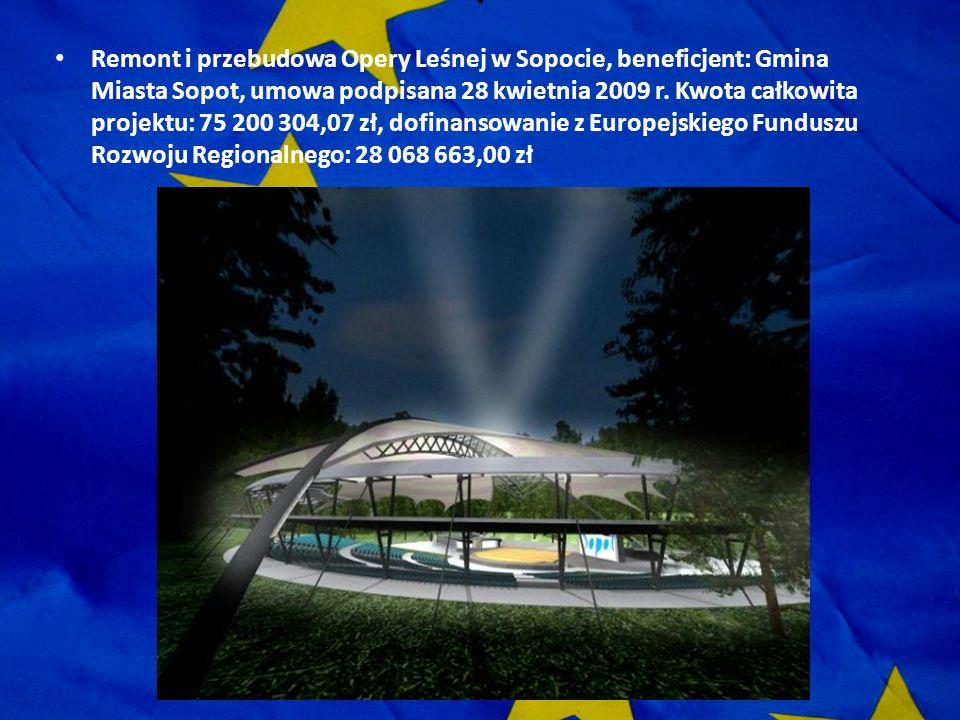 . Remont i przebudowa Opery Leśnej w Sopocie, beneficjent: Gmina Miasta Sopot, umowa podpisana 28 kwietnia 2009 r. Kwota całkowita projektu: 75 200 30