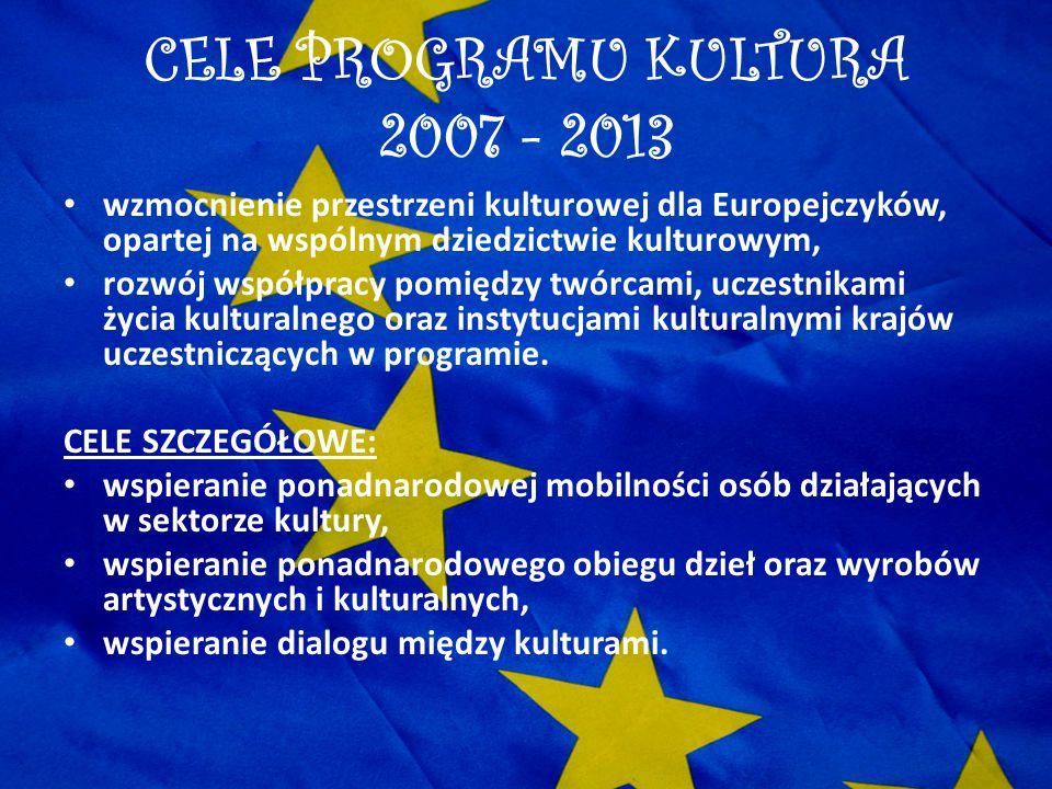 CELE PROGRAMU KULTURA 2007 - 2013 wzmocnienie przestrzeni kulturowej dla Europejczyków, opartej na wspólnym dziedzictwie kulturowym, rozwój współpracy