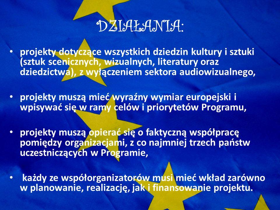 DZIAŁANIA: projekty dotyczące wszystkich dziedzin kultury i sztuki (sztuk scenicznych, wizualnych, literatury oraz dziedzictwa), z wyłączeniem sektora