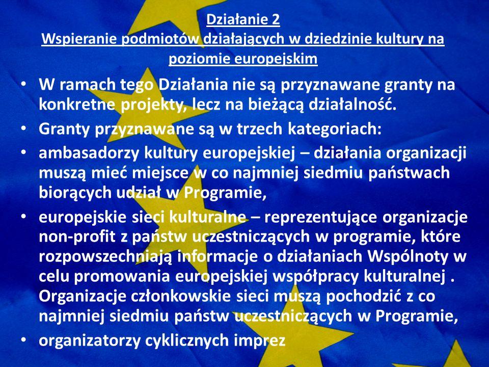 Działanie 2 Wspieranie podmiotów działających w dziedzinie kultury na poziomie europejskim W ramach tego Działania nie są przyznawane granty na konkre