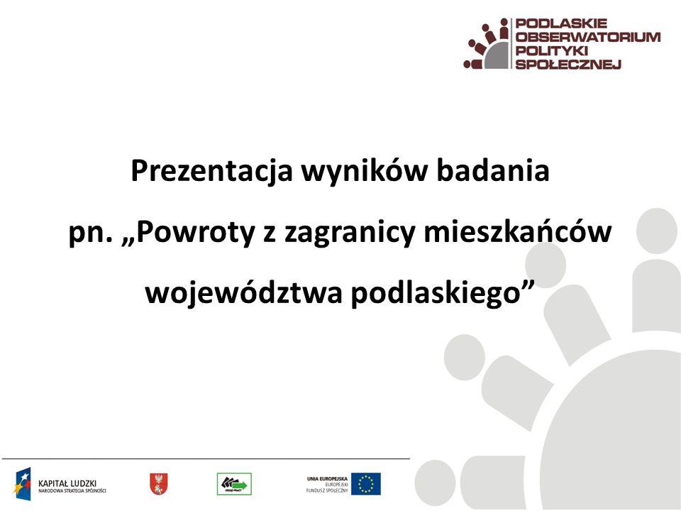 """Prezentacja wyników badania pn. """"Powroty z zagranicy mieszkańców województwa podlaskiego"""""""