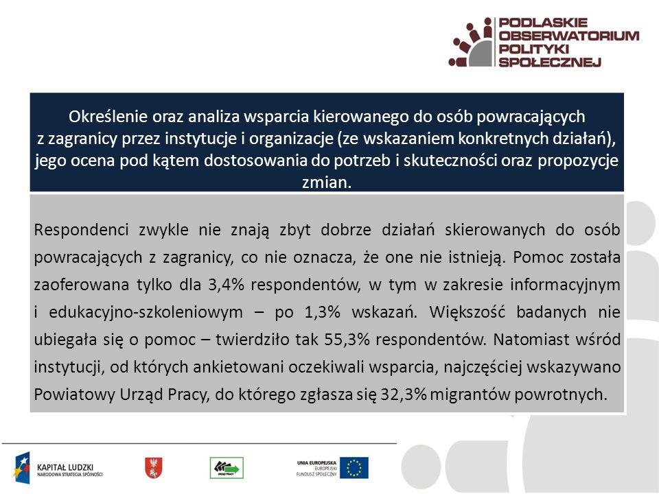 Określenie oraz analiza wsparcia kierowanego do osób powracających z zagranicy przez instytucje i organizacje (ze wskazaniem konkretnych działań), jeg