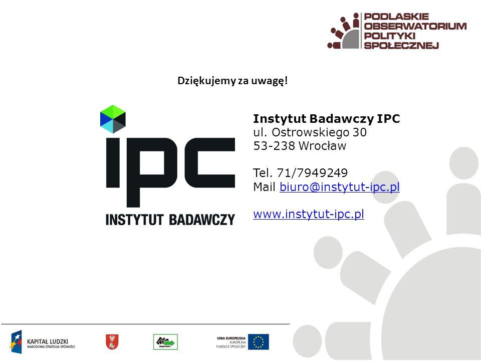 Dziękujemy za uwagę! Instytut Badawczy IPC ul. Ostrowskiego 30 53-238 Wrocław Tel. 71/7949249 Mail biuro@instytut-ipc.plbiuro@instytut-ipc.pl www.inst