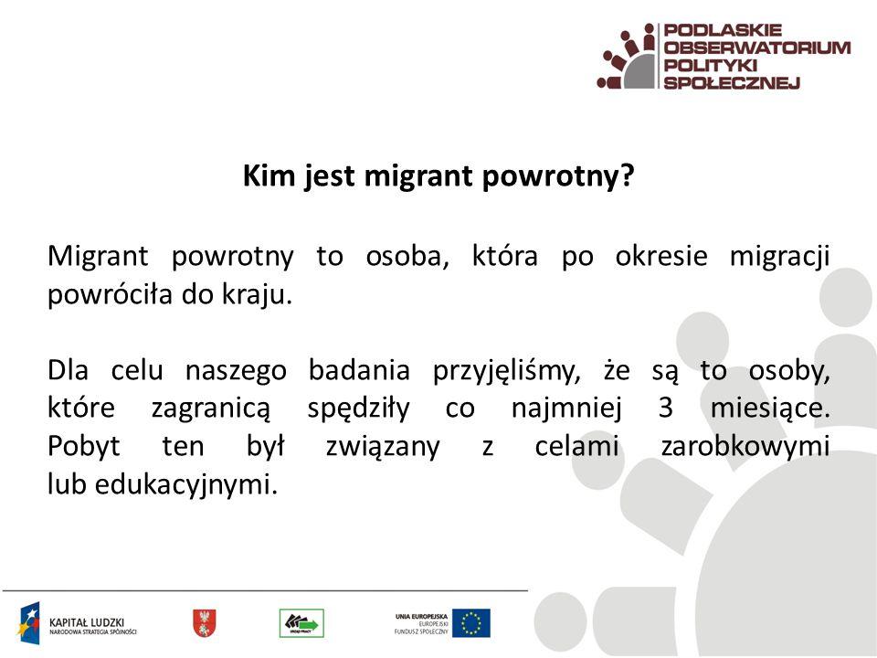 Kim jest migrant powrotny? Migrant powrotny to osoba, która po okresie migracji powróciła do kraju. Dla celu naszego badania przyjęliśmy, że są to oso