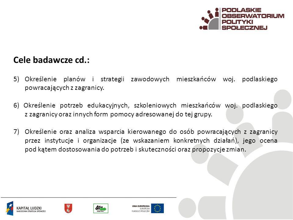 Cele badawcze cd.: 5)Określenie planów i strategii zawodowych mieszkańców woj. podlaskiego powracających z zagranicy. 6) Określenie potrzeb edukacyjny