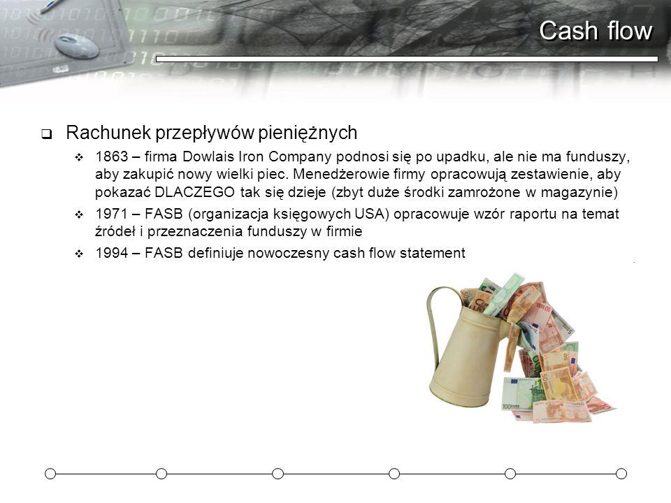 Cash flow  Rachunek przepływów pieniężnych  1863 – firma Dowlais Iron Company podnosi się po upadku, ale nie ma funduszy, aby zakupić nowy wielki pi