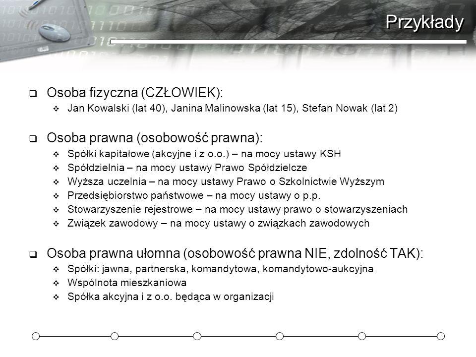 Przykłady  Osoba fizyczna (CZŁOWIEK):  Jan Kowalski (lat 40), Janina Malinowska (lat 15), Stefan Nowak (lat 2)  Osoba prawna (osobowość prawna): 
