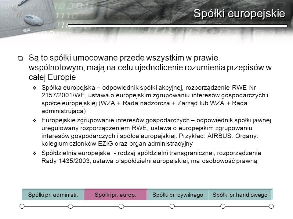 Spółki europejskie  Są to spółki umocowane przede wszystkim w prawie wspólnotowym, mają na celu ujednolicenie rozumienia przepisów w całej Europie 