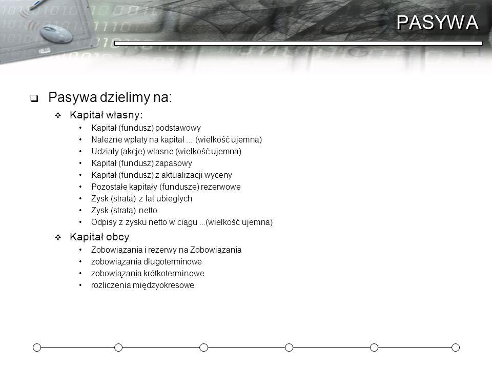 PASYWA  Pasywa dzielimy na:  Kapitał własny: Kapitał (fundusz) podstawowy Należne wpłaty na kapitał... (wielkość ujemna) Udziały (akcje) własne (wie