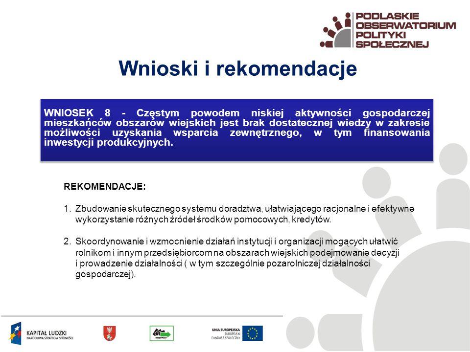 Wnioski i rekomendacje REKOMENDACJE: 1.Zbudowanie skutecznego systemu doradztwa, ułatwiającego racjonalne i efektywne wykorzystanie różnych źródeł środków pomocowych, kredytów.