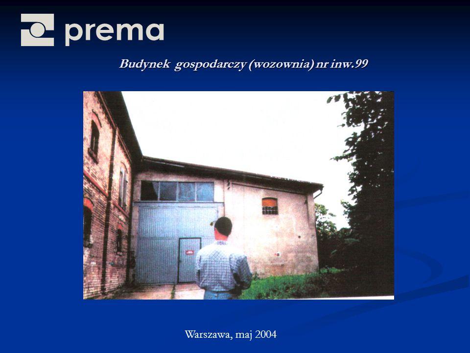 Budynek gospodarczy (wozownia) nr inw.99 Warszawa, maj 2004