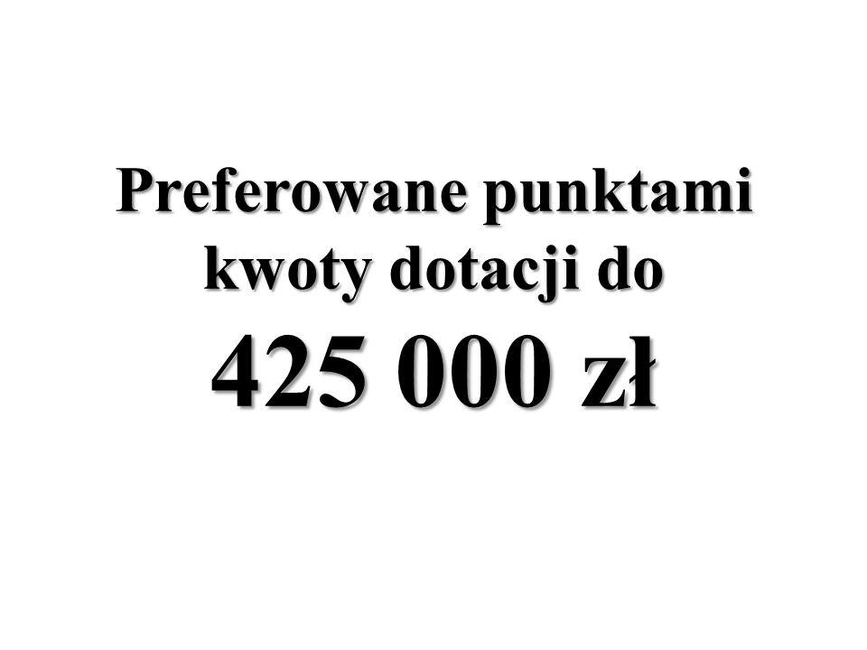 Preferowane punktami kwoty dotacji do 425 000 zł