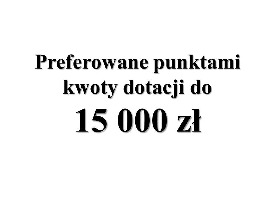 Preferowane punktami kwoty dotacji do 15 000 zł