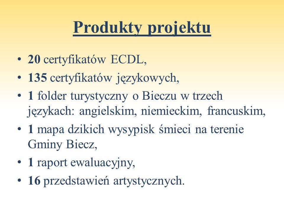 Produkty projektu 20 certyfikatów ECDL, 135 certyfikatów językowych, 1 folder turystyczny o Bieczu w trzech językach: angielskim, niemieckim, francuskim, 1 mapa dzikich wysypisk śmieci na terenie Gminy Biecz, 1 raport ewaluacyjny, 16 przedstawień artystycznych.