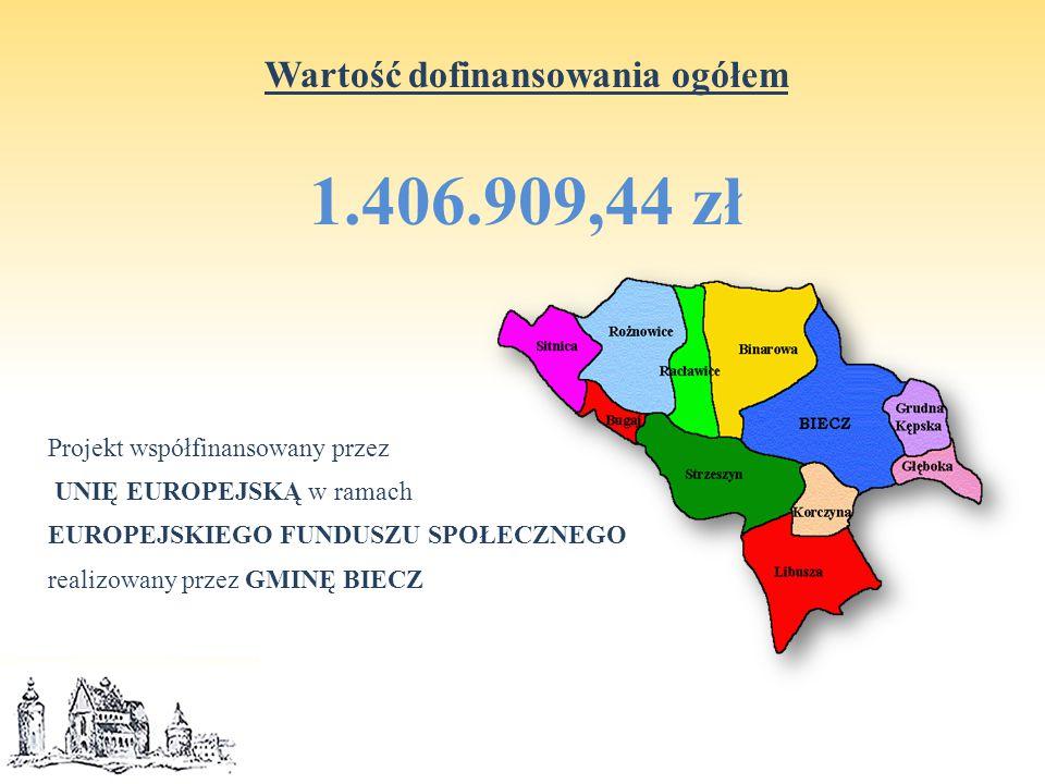 Wartość dofinansowania ogółem 1.406.909,44 zł Projekt współfinansowany przez UNIĘ EUROPEJSKĄ w ramach EUROPEJSKIEGO FUNDUSZU SPOŁECZNEGO realizowany przez GMINĘ BIECZ