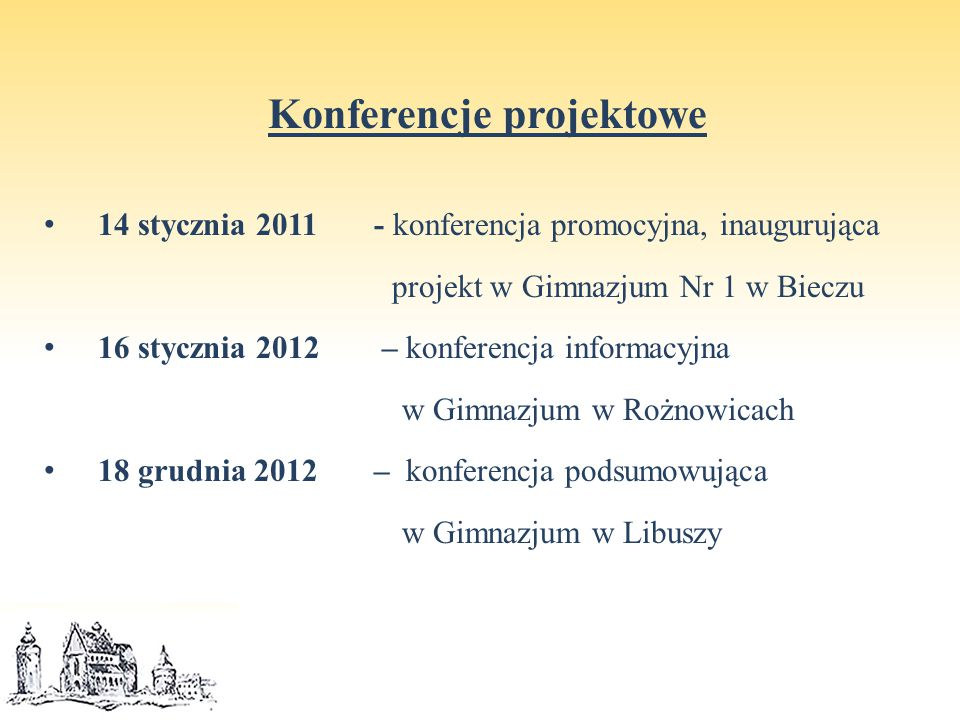 """Zalety i wartości projektu edukacyjnego projekt edukacyjny był wielka szansą dla promocji poszczególnych gimnazjów i ich uczniów w bliższym i dalszym środowisku, projekt edukacyjny był bardzo wartościową promocją gminy i przyczynił się do nadania Gminie Biecz certyfikatu """"Edukacyjna Gmina Małopolski 2011 , projekt edukacyjny umożliwił doposażenie szkół w nowe pomoce naukowe, sprzęt szkolny, materiały biurowe i eksploatacyjne, projekt edukacyjny przyczynił się do zwiększenia integracji młodzieży gimnazjalnej wywodzącej się z poszczególnych gimnazjów Gminy Biecz, projekt edukacyjny pozwolił na wyrównywanie szans edukacyjnych uczniów z różnych środowisk szkolnych."""