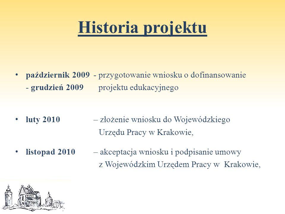 Historia projektu październik 2009 - przygotowanie wniosku o dofinansowanie - grudzień 2009 projektu edukacyjnego luty 2010– złożenie wniosku do Wojewódzkiego Urzędu Pracy w Krakowie, listopad 2010 – akceptacja wniosku i podpisanie umowy z Wojewódzkim Urzędem Pracy w Krakowie,