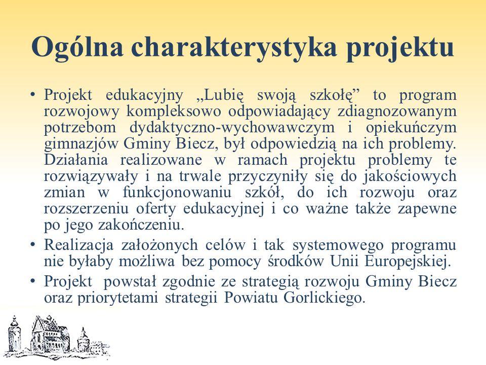 """Ogólna charakterystyka projektu Projekt edukacyjny """"Lubię swoją szkołę to program rozwojowy kompleksowo odpowiadający zdiagnozowanym potrzebom dydaktyczno-wychowawczym i opiekuńczym gimnazjów Gminy Biecz, był odpowiedzią na ich problemy."""