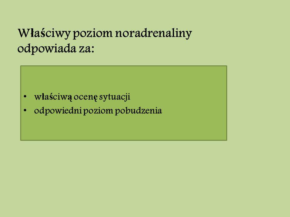 W ł a ś ciwy poziom noradrenaliny odpowiada za: w ł a ś ciw ą ocen ę sytuacji odpowiedni poziom pobudzenia