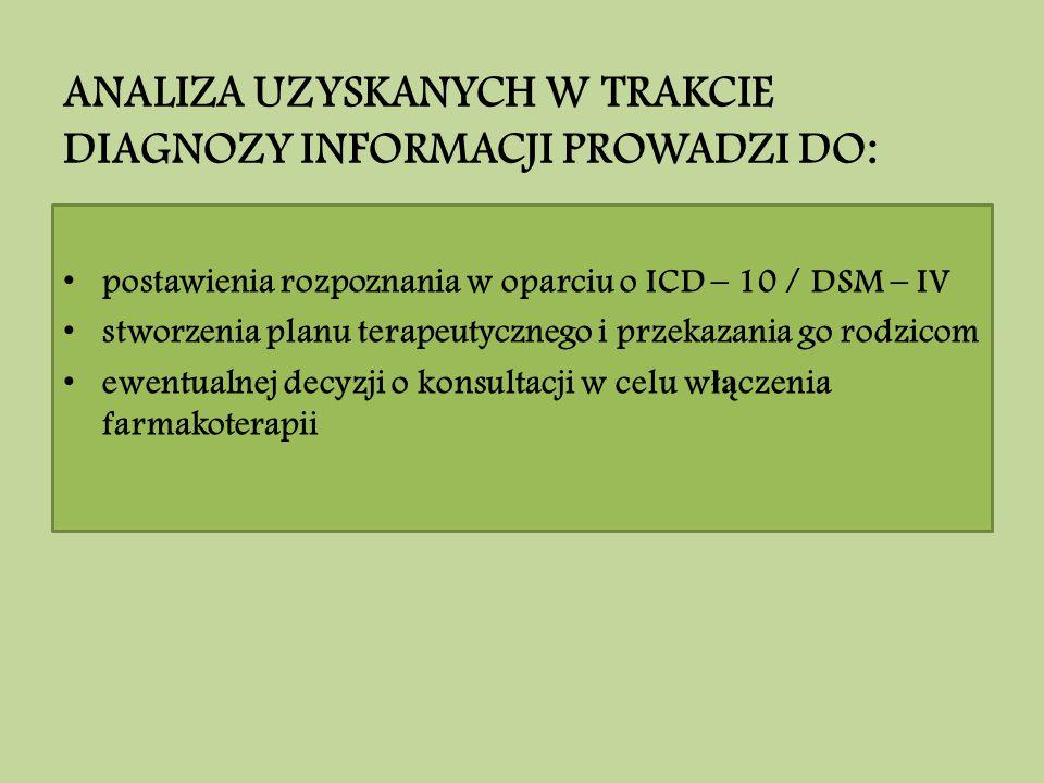 ANALIZA UZYSKANYCH W TRAKCIE DIAGNOZY INFORMACJI PROWADZI DO: postawienia rozpoznania w oparciu o ICD – 10 / DSM – IV stworzenia planu terapeutycznego