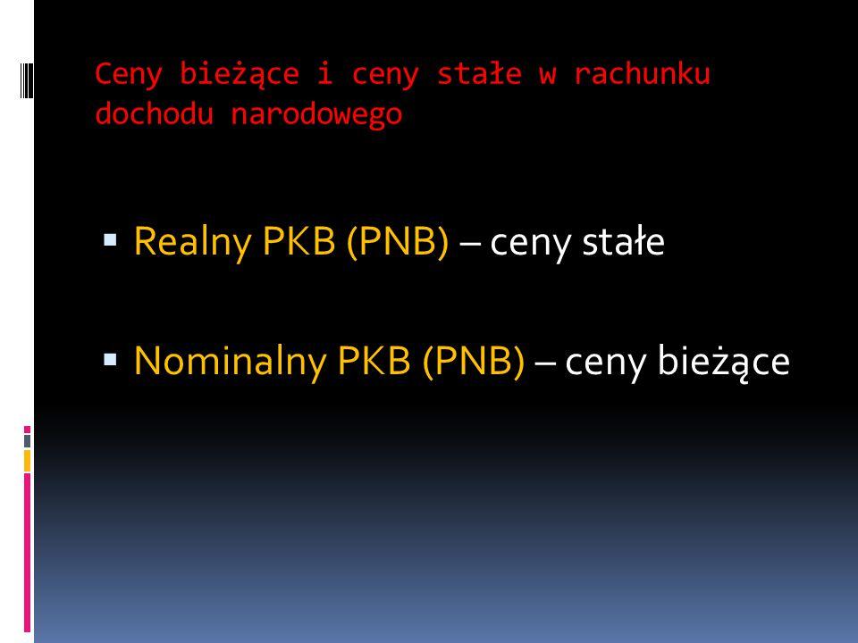 Ceny bieżące i ceny stałe w rachunku dochodu narodowego  Realny PKB (PNB) – ceny stałe  Nominalny PKB (PNB) – ceny bieżące