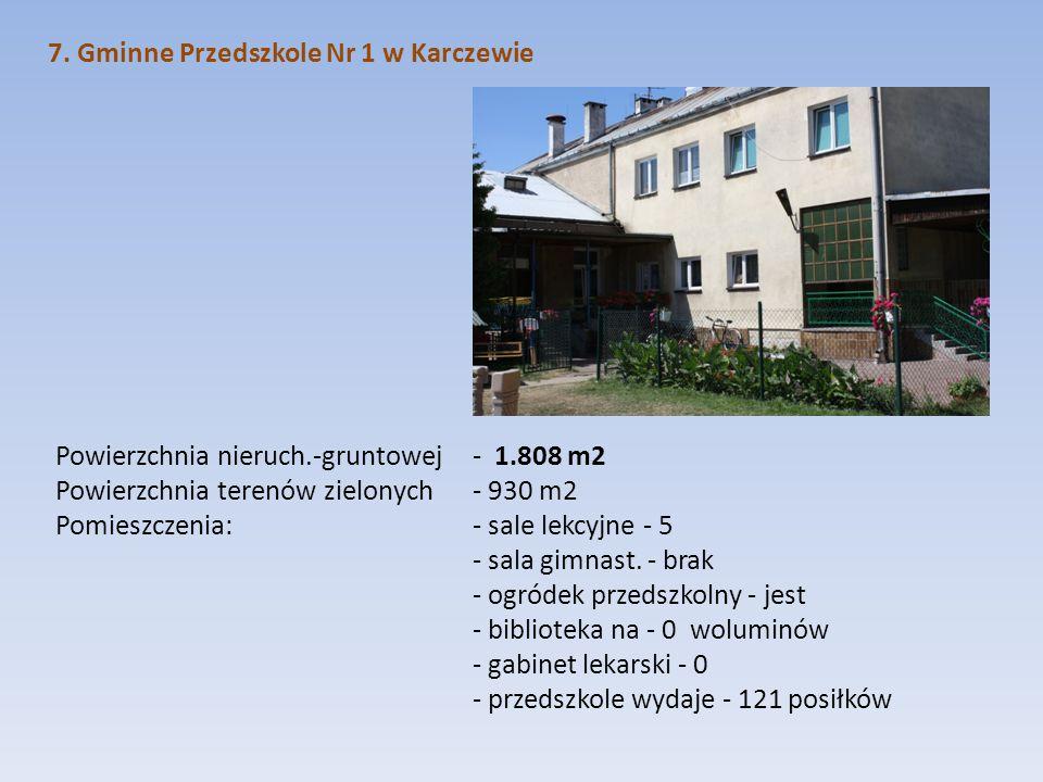 7. Gminne Przedszkole Nr 1 w Karczewie Powierzchnia nieruch.-gruntowej - 1.808 m2 Powierzchnia terenów zielonych - 930 m2 Pomieszczenia: - sale lekcyj