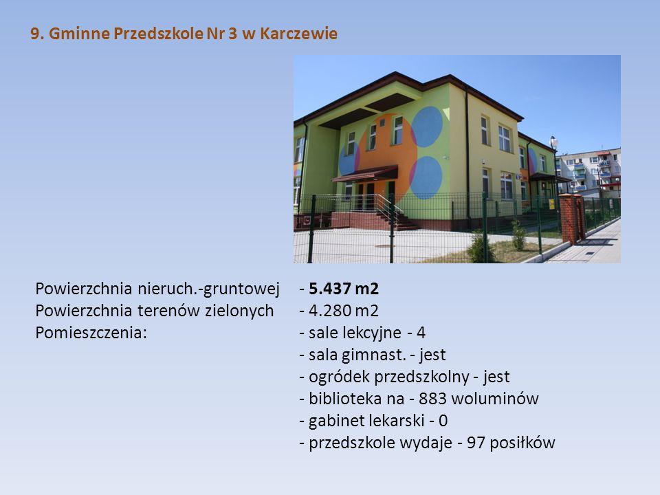 9. Gminne Przedszkole Nr 3 w Karczewie Powierzchnia nieruch.-gruntowej - 5.437 m2 Powierzchnia terenów zielonych - 4.280 m2 Pomieszczenia: - sale lekc