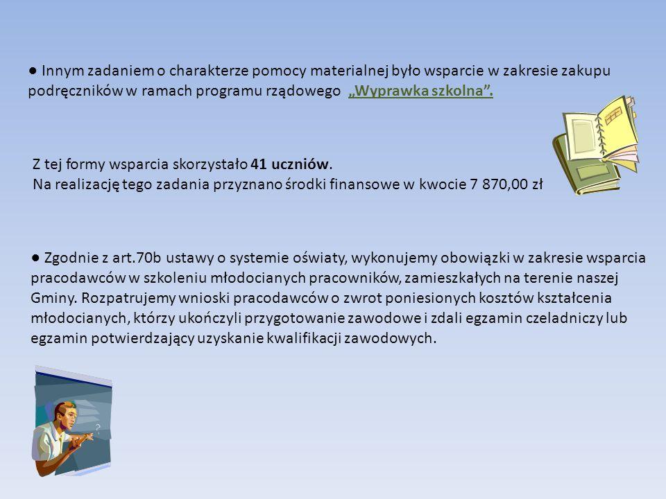 """● Innym zadaniem o charakterze pomocy materialnej było wsparcie w zakresie zakupu podręczników w ramach programu rządowego """"Wyprawka szkolna"""". Z tej f"""
