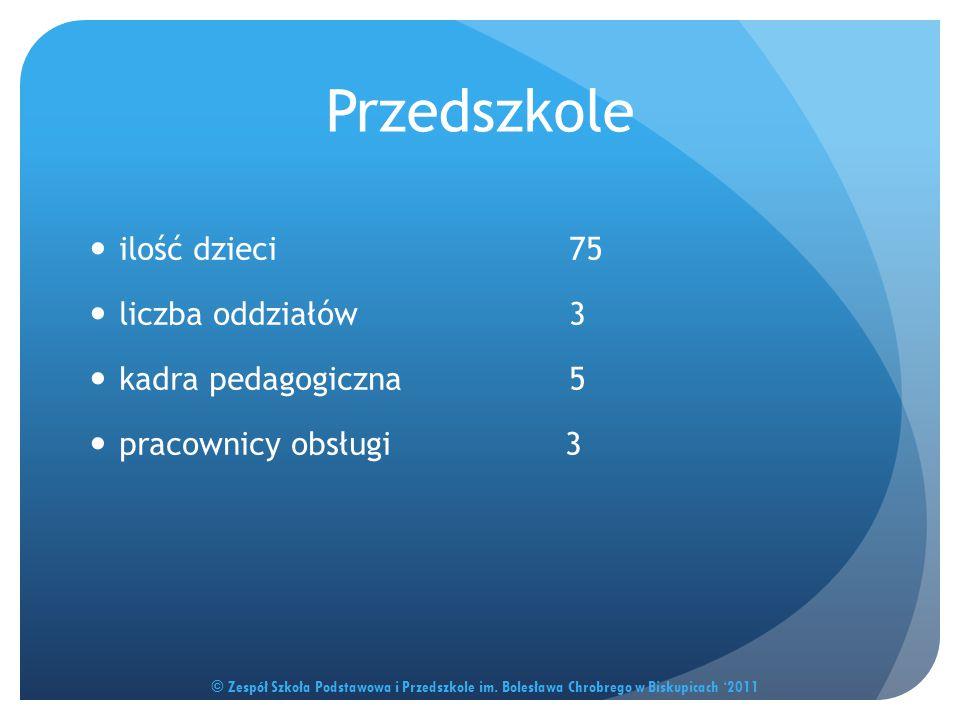 Przedszkole ilość dzieci 75 liczba oddziałów 3 kadra pedagogiczna 5 pracownicy obsługi 3 © Zespół Szkoła Podstawowa i Przedszkole im. Bolesława Chrobr