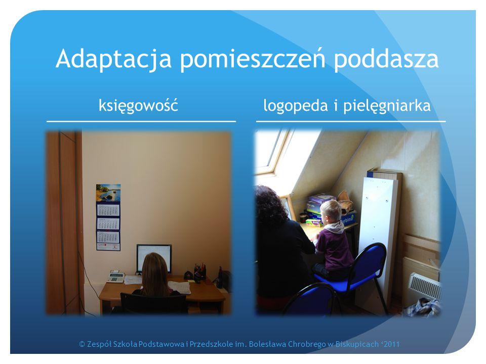 Adaptacja pomieszczeń poddasza księgowośćlogopeda i pielęgniarka © Zespół Szkoła Podstawowa i Przedszkole im. Bolesława Chrobrego w Biskupicach '2011