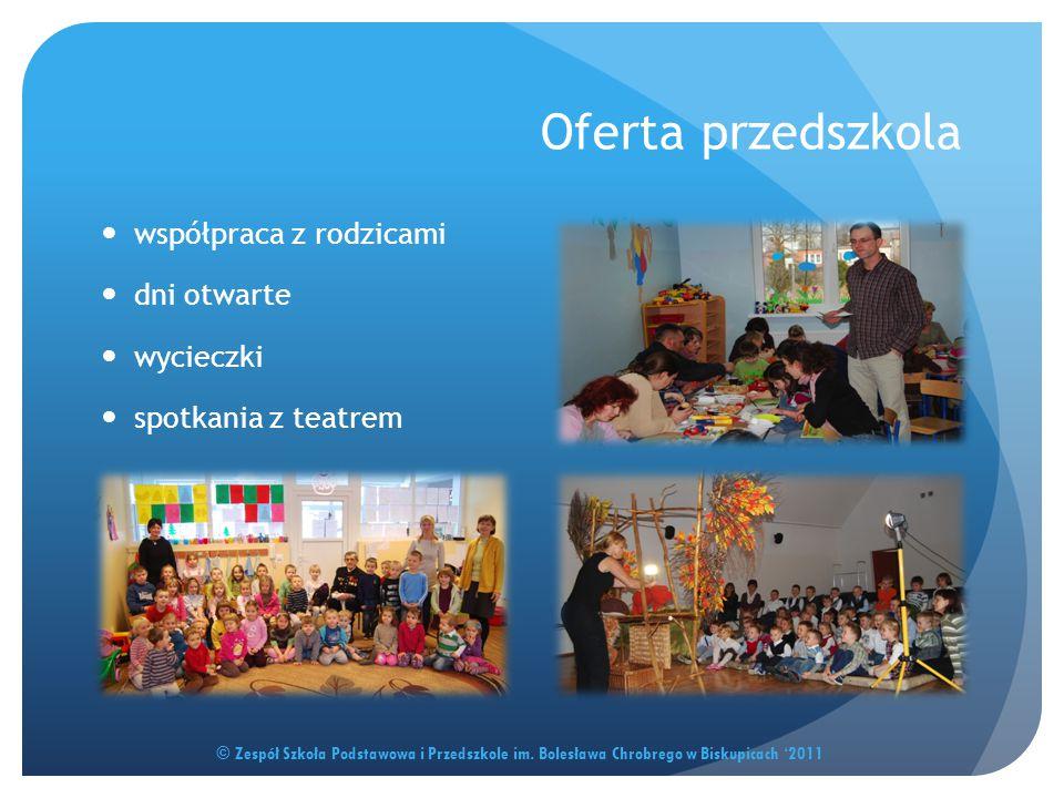 Oferta przedszkola © Zespół Szkoła Podstawowa i Przedszkole im. Bolesława Chrobrego w Biskupicach '2011 współpraca z rodzicami dni otwarte wycieczki s