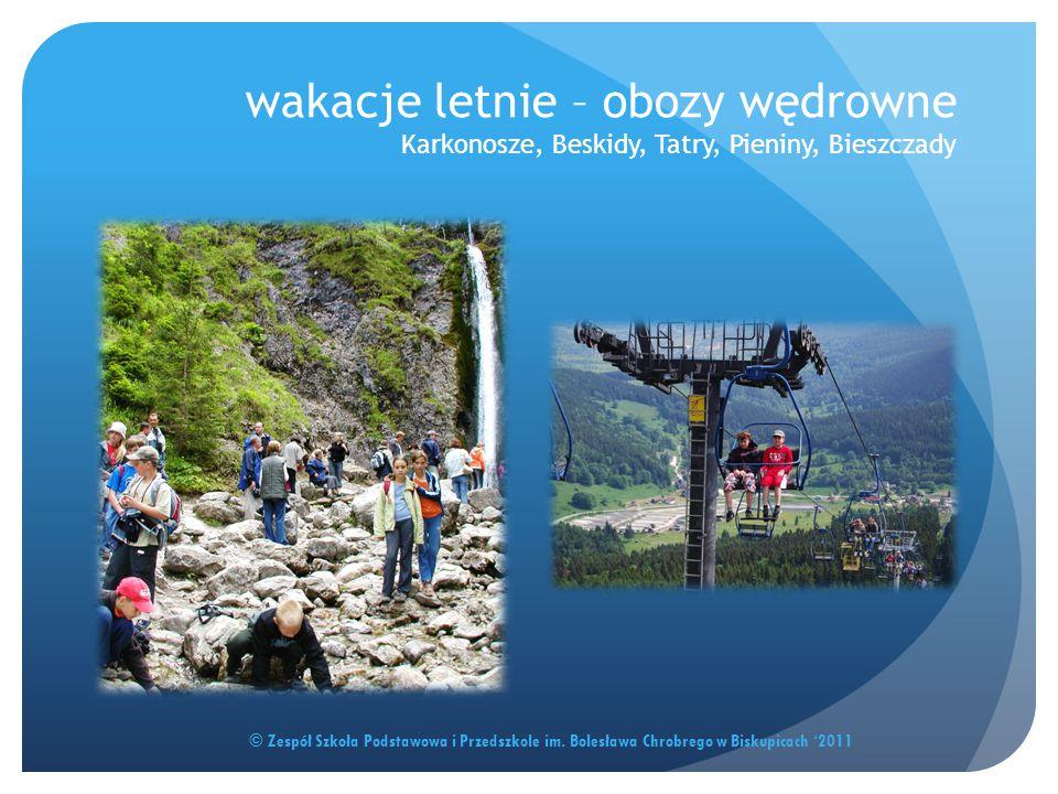 wakacje letnie – obozy wędrowne Karkonosze, Beskidy, Tatry, Pieniny, Bieszczady © Zespół Szkoła Podstawowa i Przedszkole im. Bolesława Chrobrego w Bis