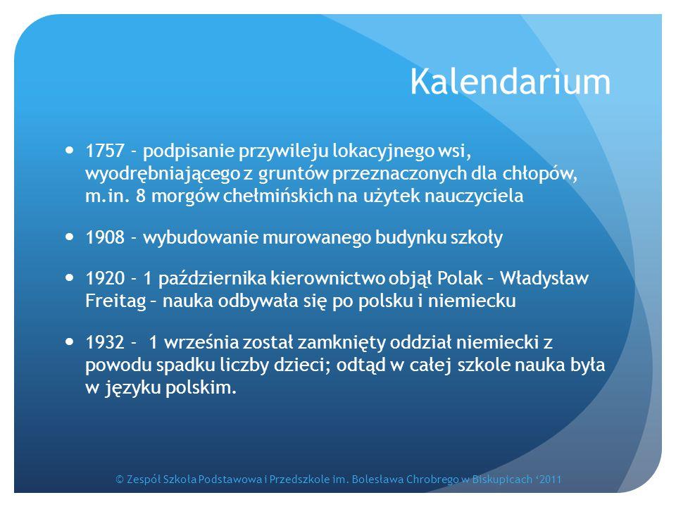 Kalendarium 1757 - podpisanie przywileju lokacyjnego wsi, wyodrębniającego z gruntów przeznaczonych dla chłopów, m.in. 8 morgów chełmińskich na użytek