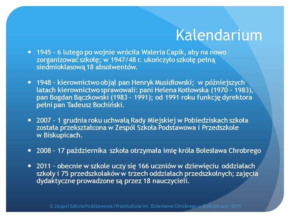 Kalendarium 1945 - 6 lutego po wojnie wróciła Waleria Capik, aby na nowo zorganizować szkołę; w 1947/48 r. ukończyło szkołę pełną siedmioklasową 18 ab